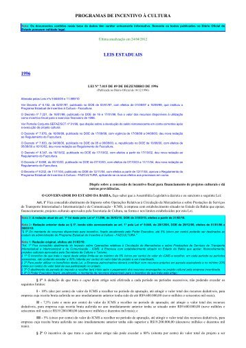 Imprimindo - Programas de Incentivo à Cultura - Sefaz BA