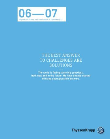 THE BEST ANSWER TO CHALLENGES ARE SOLUTIONS,