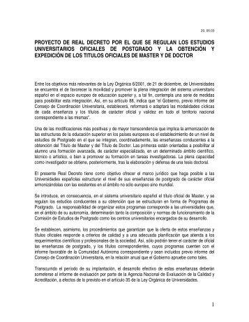 1 proyecto de real decreto por el que se regulan los estudios ...