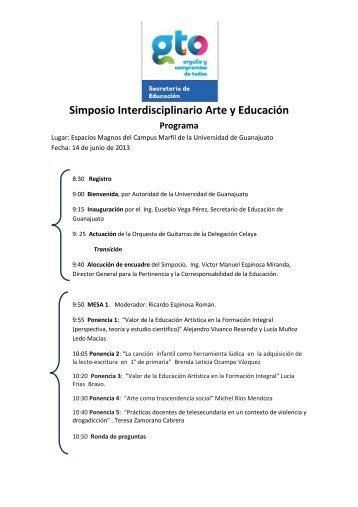 Programa del Simposio Interdisciplinario Arte y Educación FINAL
