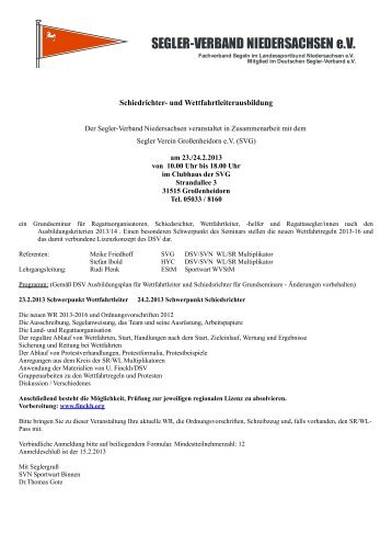 Ausschreibung und Anmeldung - Segler-Verband Niedersachsen eV