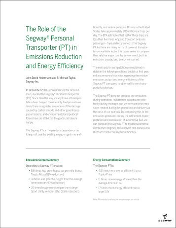 The Role of the Segway® Personal Transporter (PT) in Emissions ...