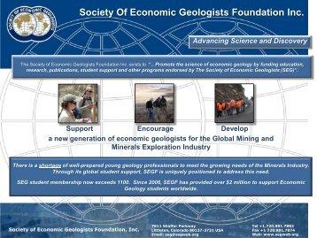 SEG Foundation brochure. - Society of Economic Geologists