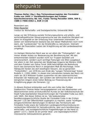 Thomas Heiler (Hg.): Das Türkensteuerregister der ... - Sehepunkte