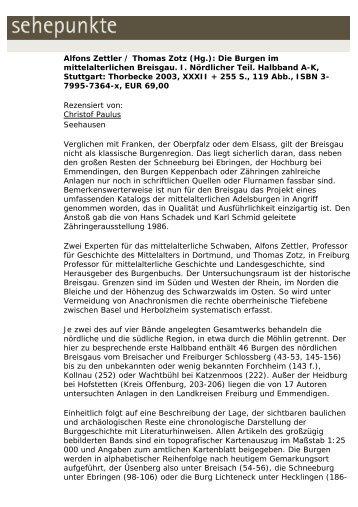 Alfons Zettler / Thomas Zotz (Hg.): Die Burgen im ... - Sehepunkte