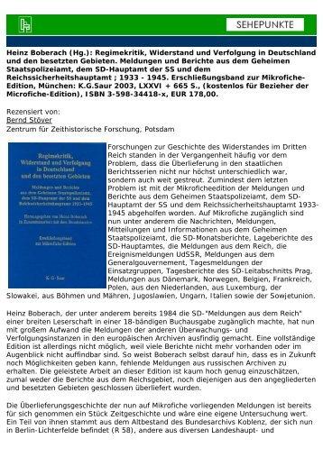 Heinz Boberach (Hg.): Regimekritik, Widerstand und ... - Sehepunkte