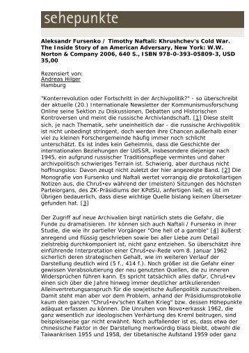 Aleksandr Fursenko / Timothy Naftali: Khrushchev's ... - Sehepunkte