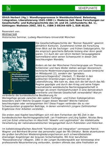 Ulrich Herbert (Hg.): Wandlungsprozesse in ... - Sehepunkte