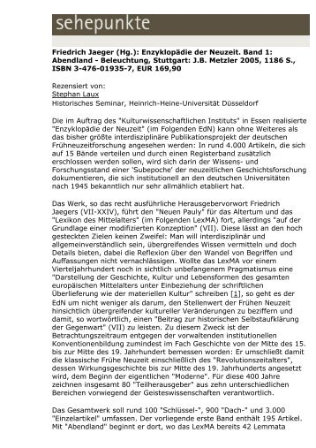 Enzyklopädie der Neuzeit. Band 1 - Sehepunkte