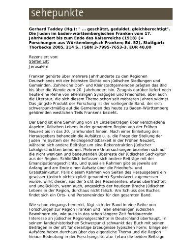 """Gerhard Taddey (Hg.): """" ... geschützt, geduldet ... - Sehepunkte"""