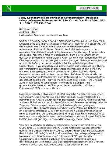 In polnischer Gefangenschaft. Deutsche ... - Sehepunkte