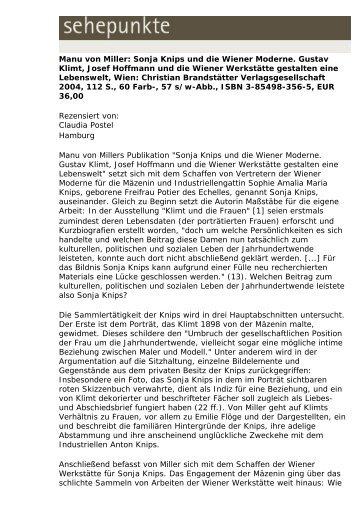 Manu von Miller: Sonja Knips und die Wiener ... - Sehepunkte