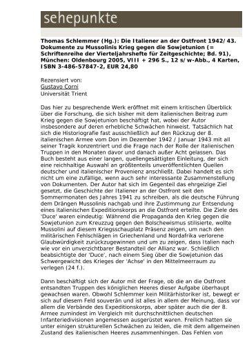 Thomas Schlemmer (Hg.): Die Italiener an der Ostfront ... - Sehepunkte