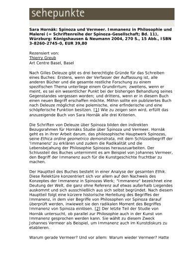Sara Hornäk: Spinoza und Vermeer. Immanenz in ... - Sehepunkte
