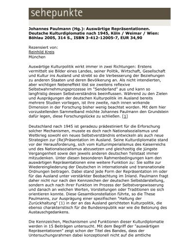 Johannes Paulmann (Hg.): Auswärtige ... - Sehepunkte