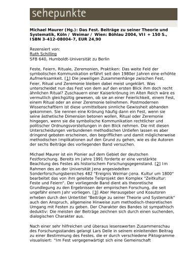 Michael Maurer (Hg.): Das Fest. Beiträge zu seiner ... - Sehepunkte