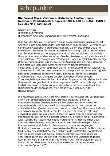 Ute Frevert (Hg.): Vertrauen. Historische ... - Sehepunkte