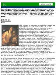 Bettina Hagen: Antike in Wien. Die Akademie und der ... - Sehepunkte
