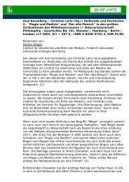 Axel Karenberg / Christian Leitz (Hg.): Heilkunde und ... - Sehepunkte