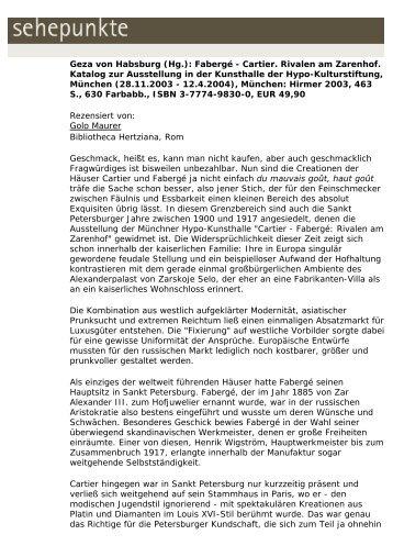 Geza von Habsburg (Hg.): Fabergé - Cartier. Rivalen ... - Sehepunkte
