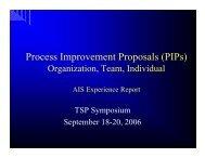Process Improvement Proposals (PIPs) Organization, Team, Individual