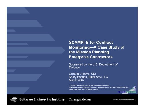 SCAMPI-B for Contract Monitoring - Software Engineering Institute ...