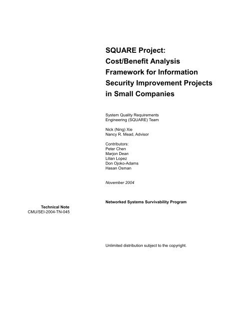SQUARE Project: Cost/Benefit Analysis Framework for Information ...