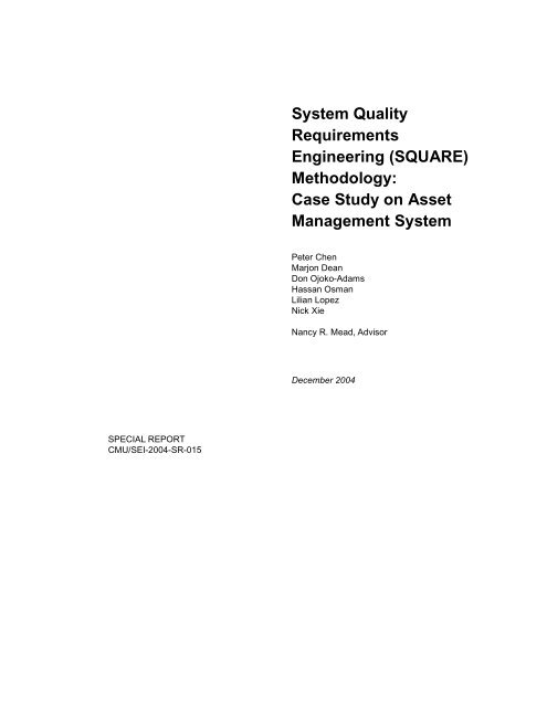 System Quality Requirements Engineering (SQUARE) - Software ...