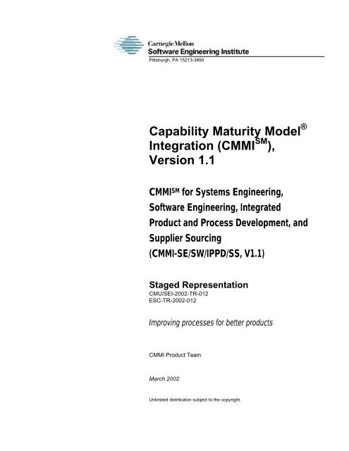 CMMI - SE/SW/IPPD/SS - V1.1 - Software Engineering Institute ...