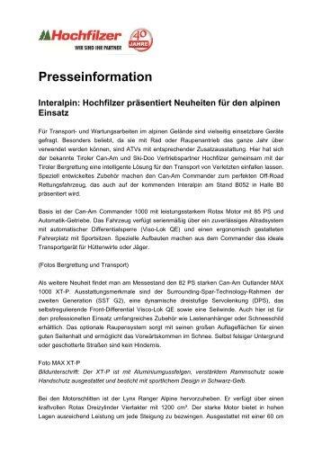 Hochfilzer präsentiert Neuheiten für den alpinen Einsatz - Seilbahn.net