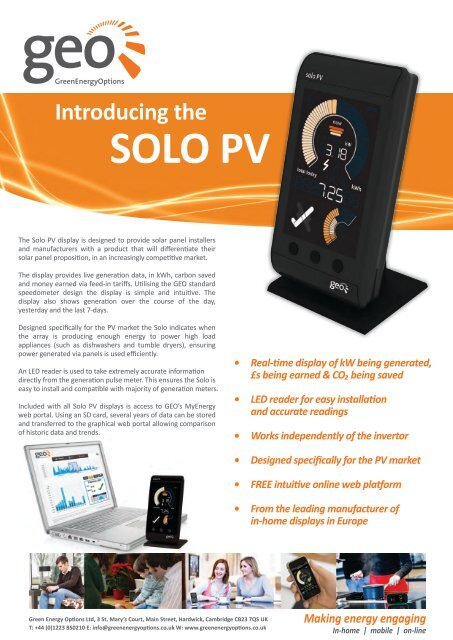Solo PV Product Information Sheet - Green Energy Options