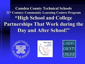 """Camden County Technical Schools """"STATE OF THE DISTRICT ..."""