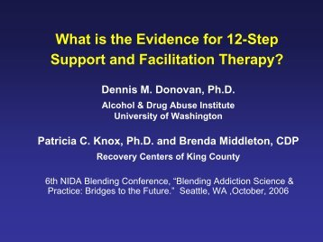 What is the Evidence for 12-Step Support and Facilitation Therapy?