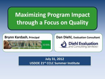 Maximizing Program Impact through a Focus on Quality
