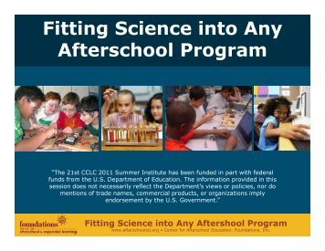 Fitting Science into Any Afterschool Program - Summer Institute ...