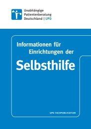 Informationen für Einrichtungen der Selbsthilfe