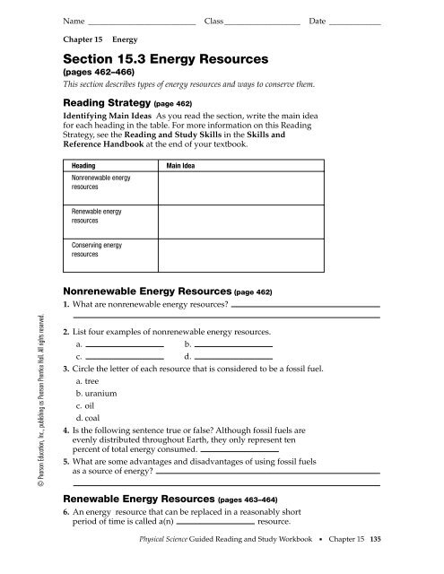 Section 15.3 Energy Resources - Barrington High School