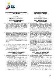SELNET Regolamento interno per acquisizioni in economia