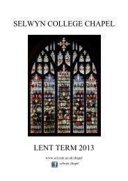 Chapel Card - Lent Term 2013 final as at 10 Jan - Selwyn College