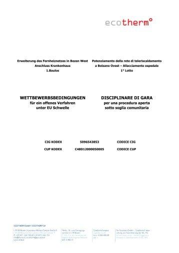 WETTBEWERBSBEDINGUNGEN DISCIPLINARE DI GARA - SEL AG