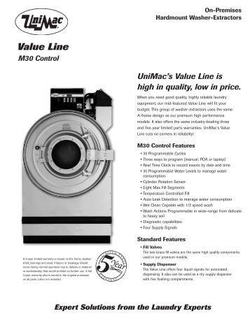 Unimac washer manual parts on