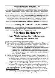Morbus Bechterew - Neue Möglichkeiten für ... - Selbsthilfe Tirol