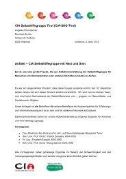 (CIA-SHG-Tirol) Auftakt – CIA Selbsthilfegruppe mit ... - Selbsthilfe Tirol