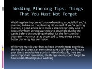 Wedding Planning Tips: Things That You Must Not Forget