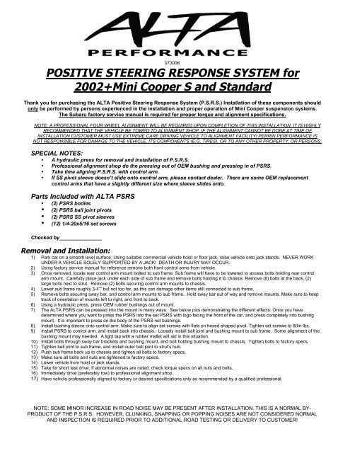 POSITIVE STEERING RESPONSE SYSTEM for 2002     - OutMotoring