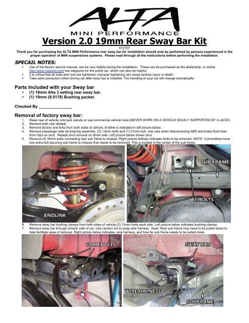 Version 2 0 19mm Rear Sway Bar Kit - OutMotoring