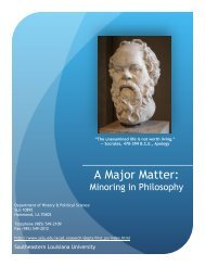 Philosophy Minor Brochure - Southeastern Louisiana University