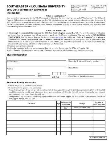 2013-14 Verification Form - V1 Dependent - Southeastern Louisiana ...