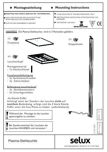 MT 7.160-0 Plasma Stehleuchte... - Selux