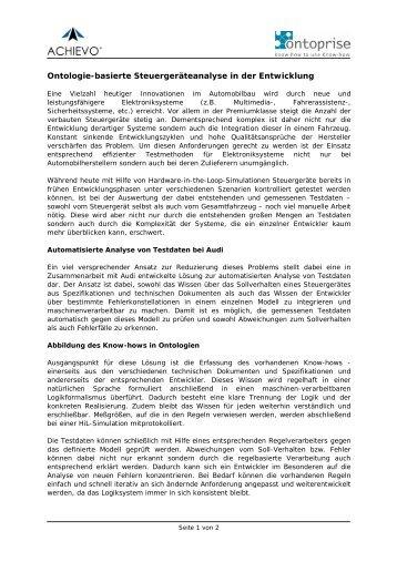Ontologiebasierte Steuergeräteanalyse - ontoprise GmbH